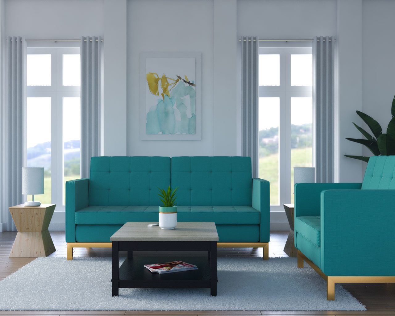 White walls with teal furniture