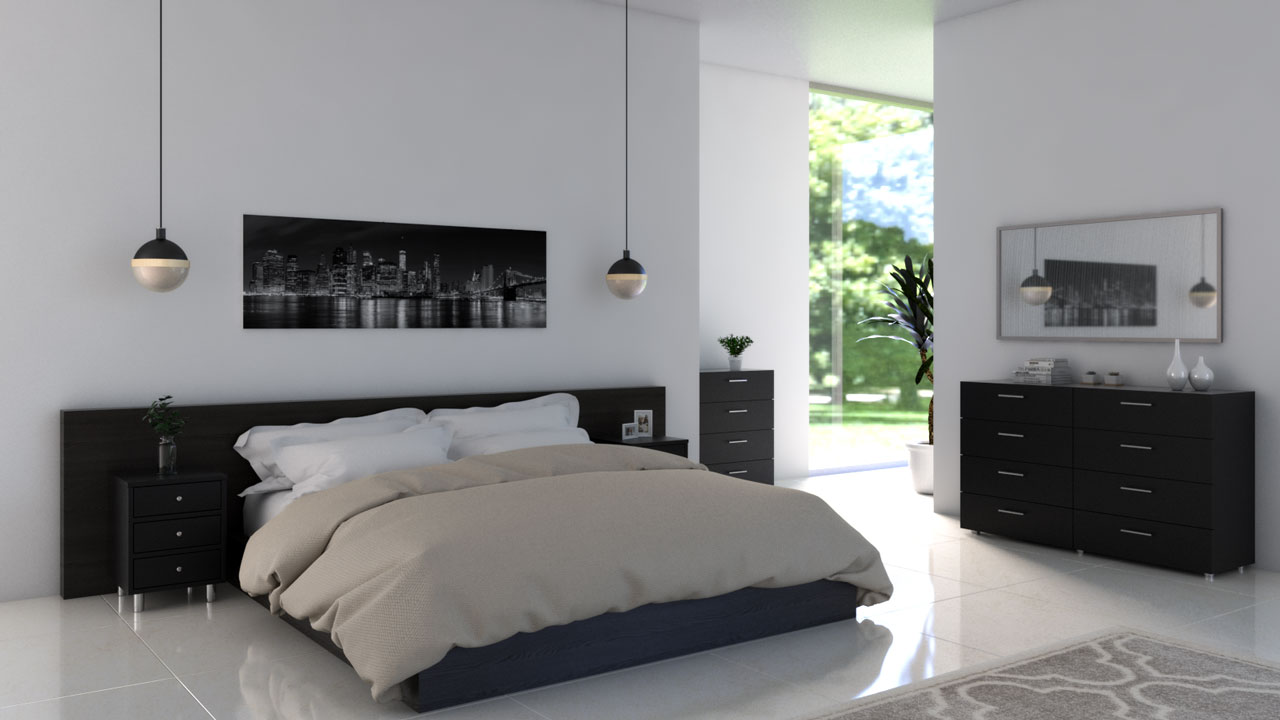White bedroom with black furniture