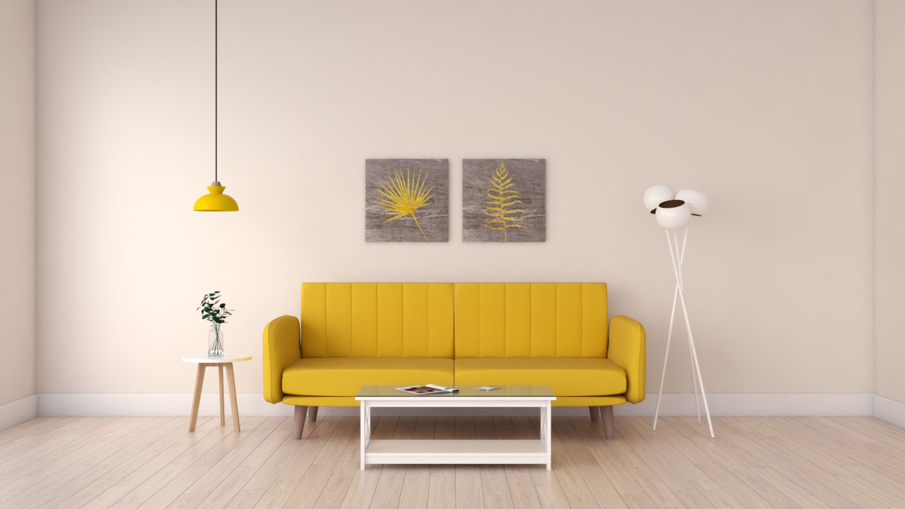 Yellow couch with beige walls ideas