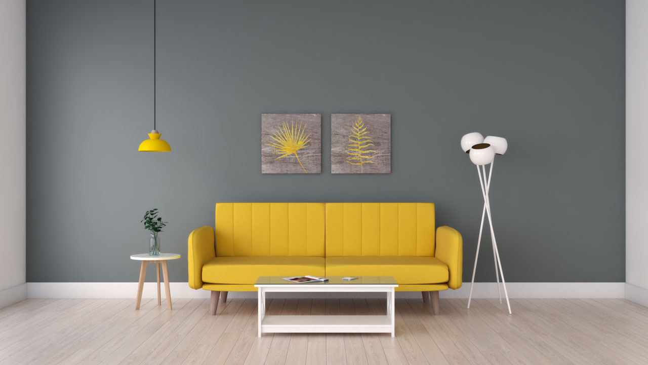 Yellow couch ideas with dark gray walls