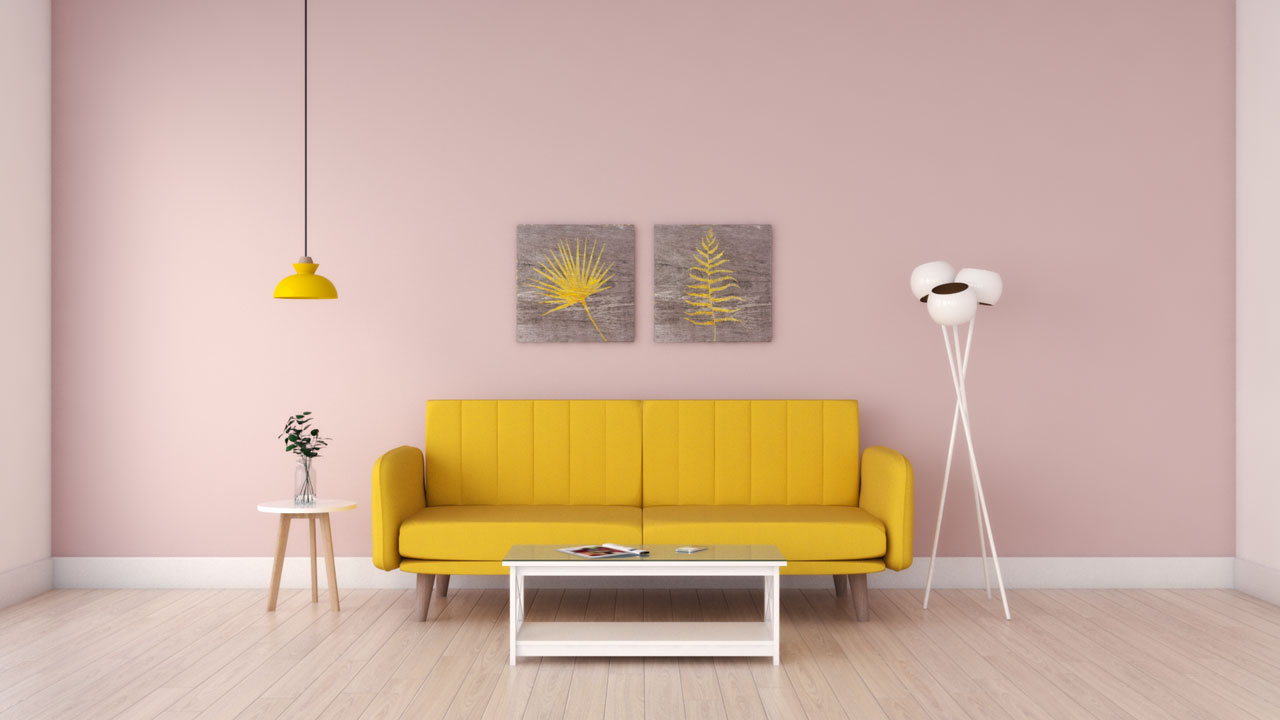 Yellow couch with pink walls