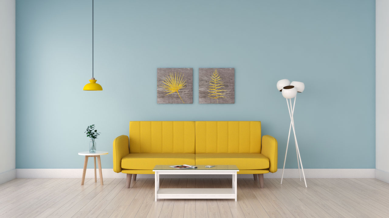 Sky blue walls with yellow couch