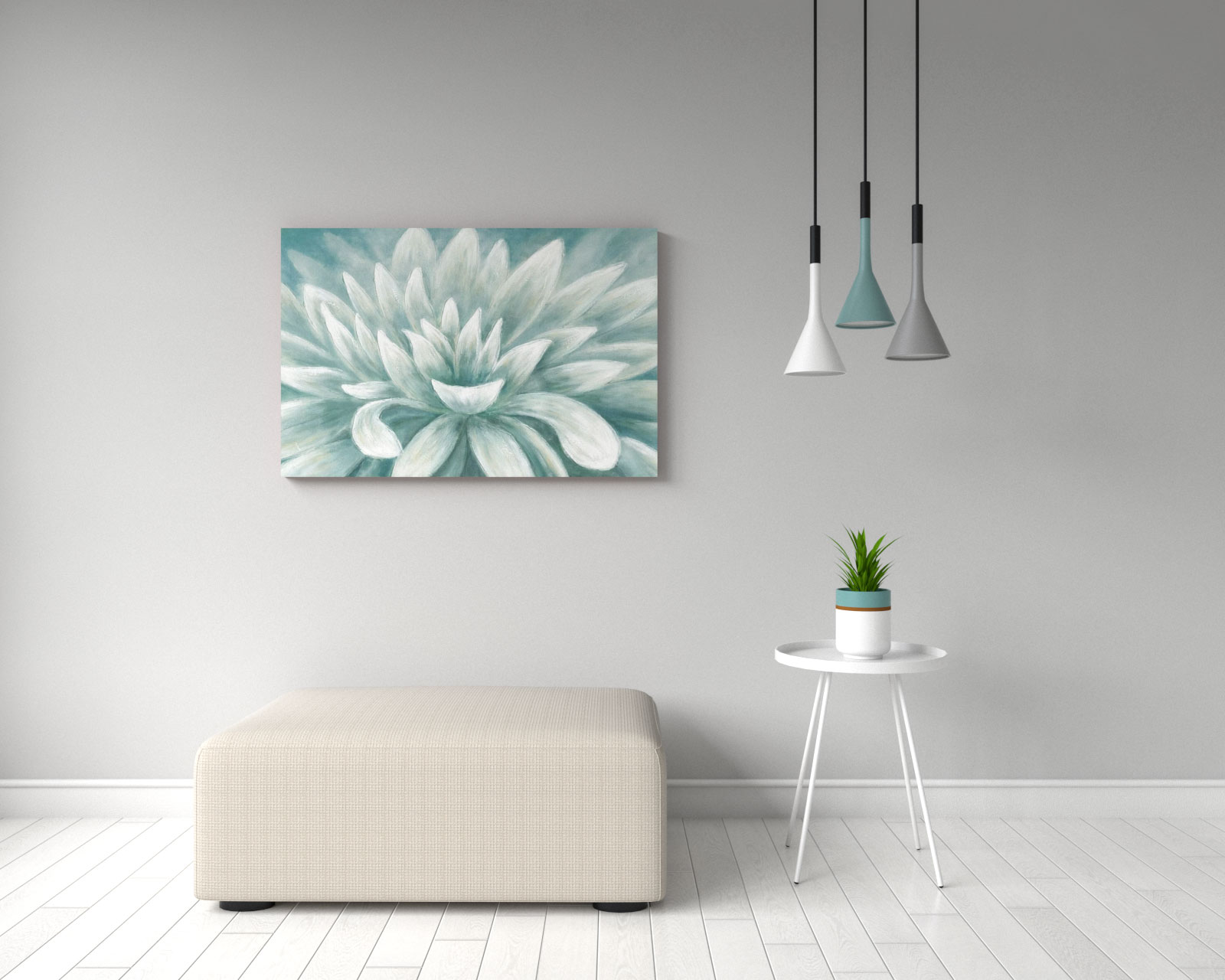 Beautiful hand painted floral blossom teal green and white wall art