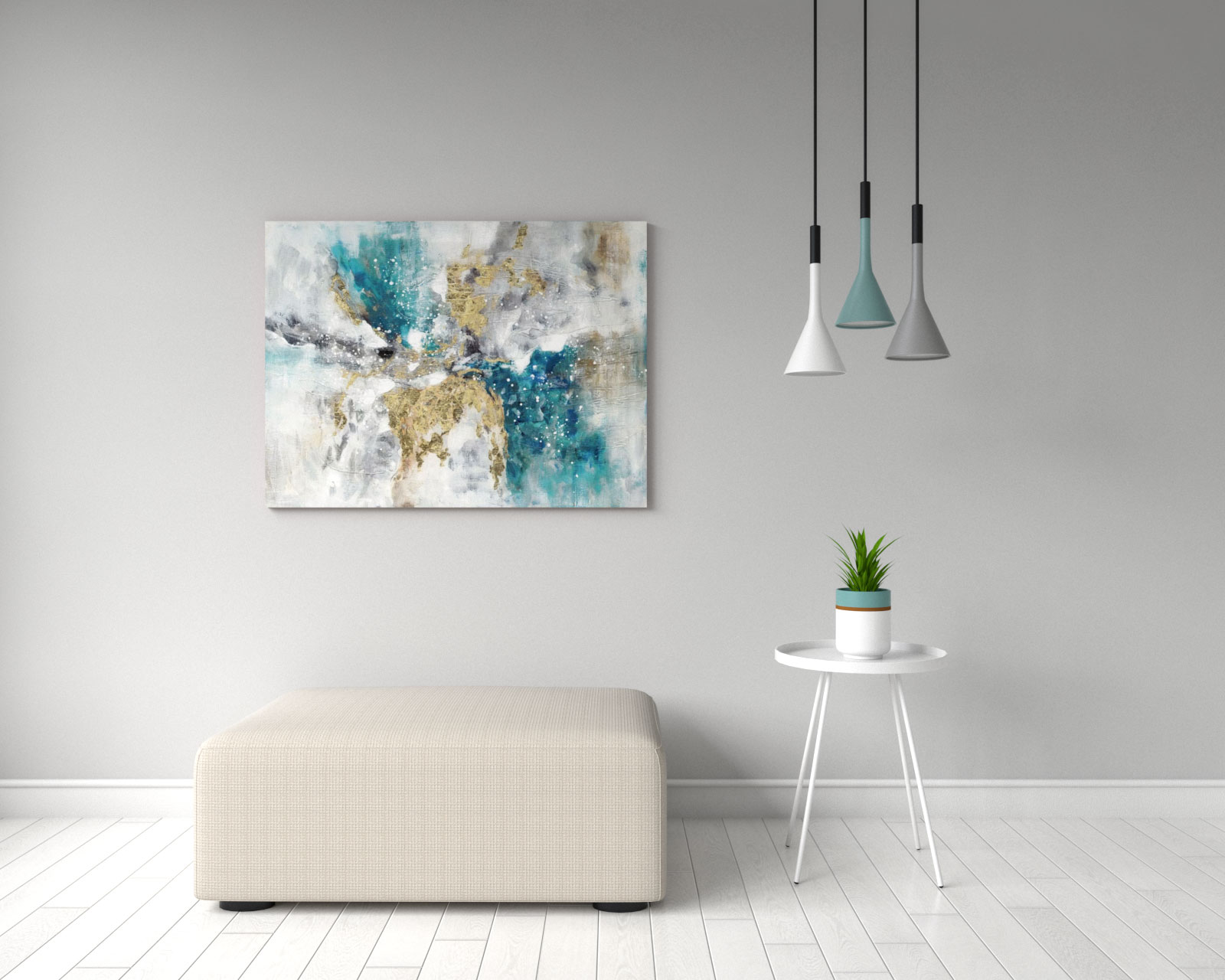 Gorgeous simple teal and gold abstract wall art