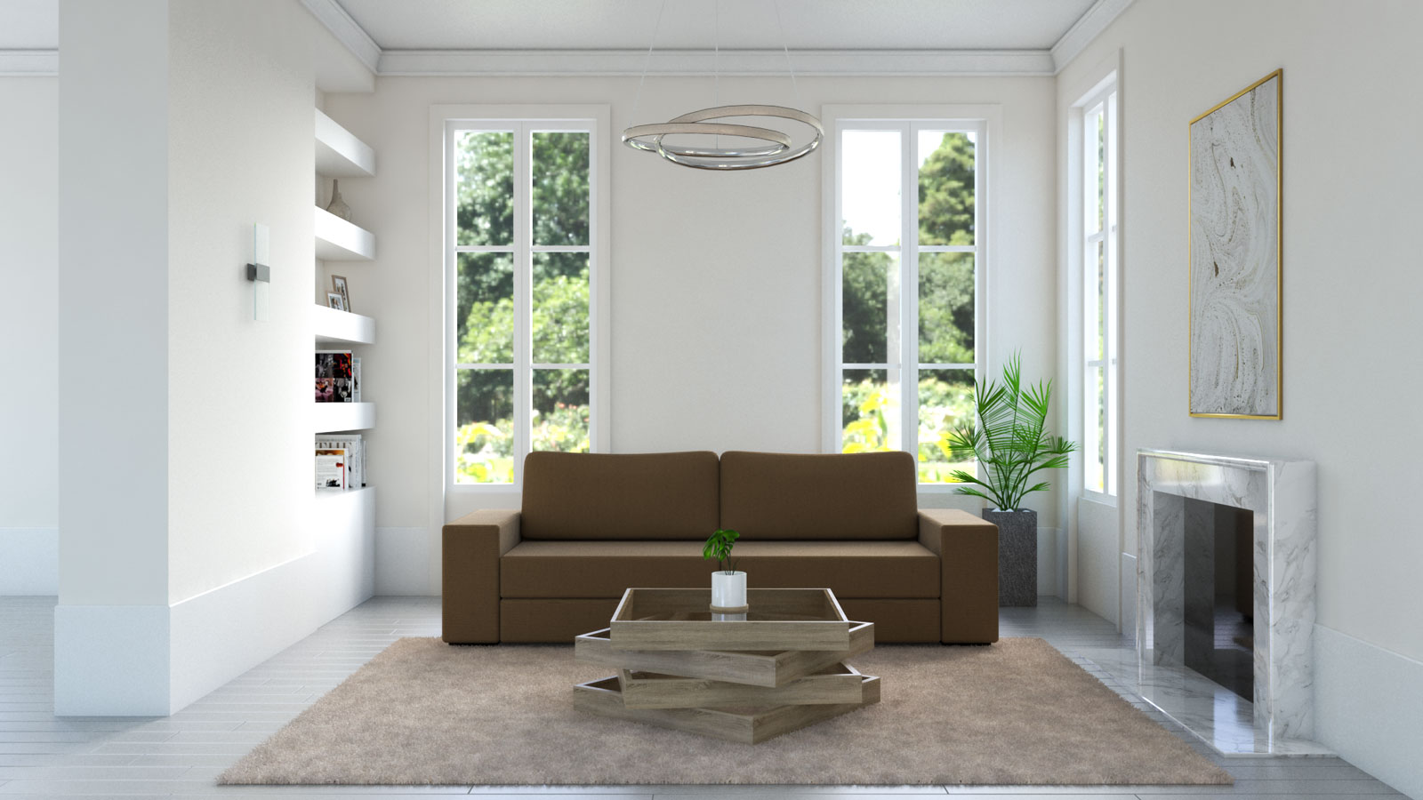 Tan rug with brown sofa in living room