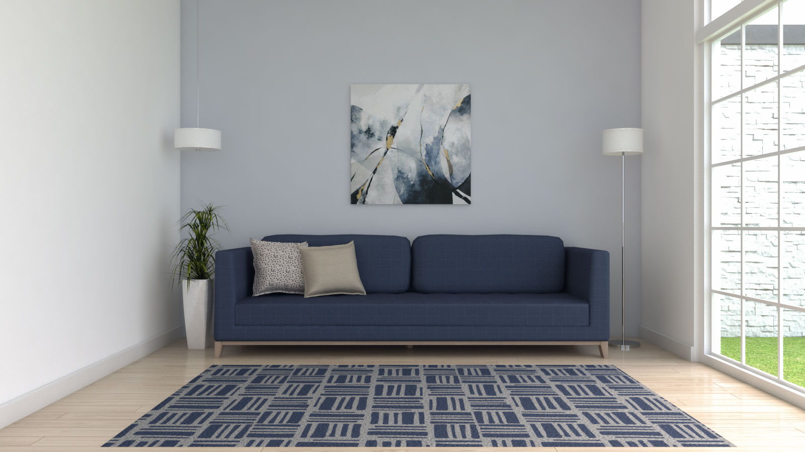 Blue and gray rug with blue couch