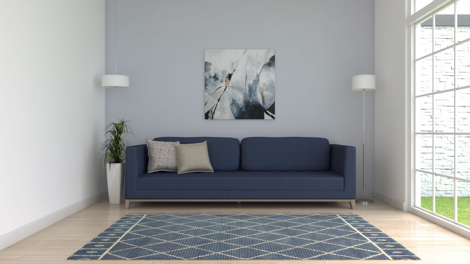 Classic blue and white area rug with blue sofa