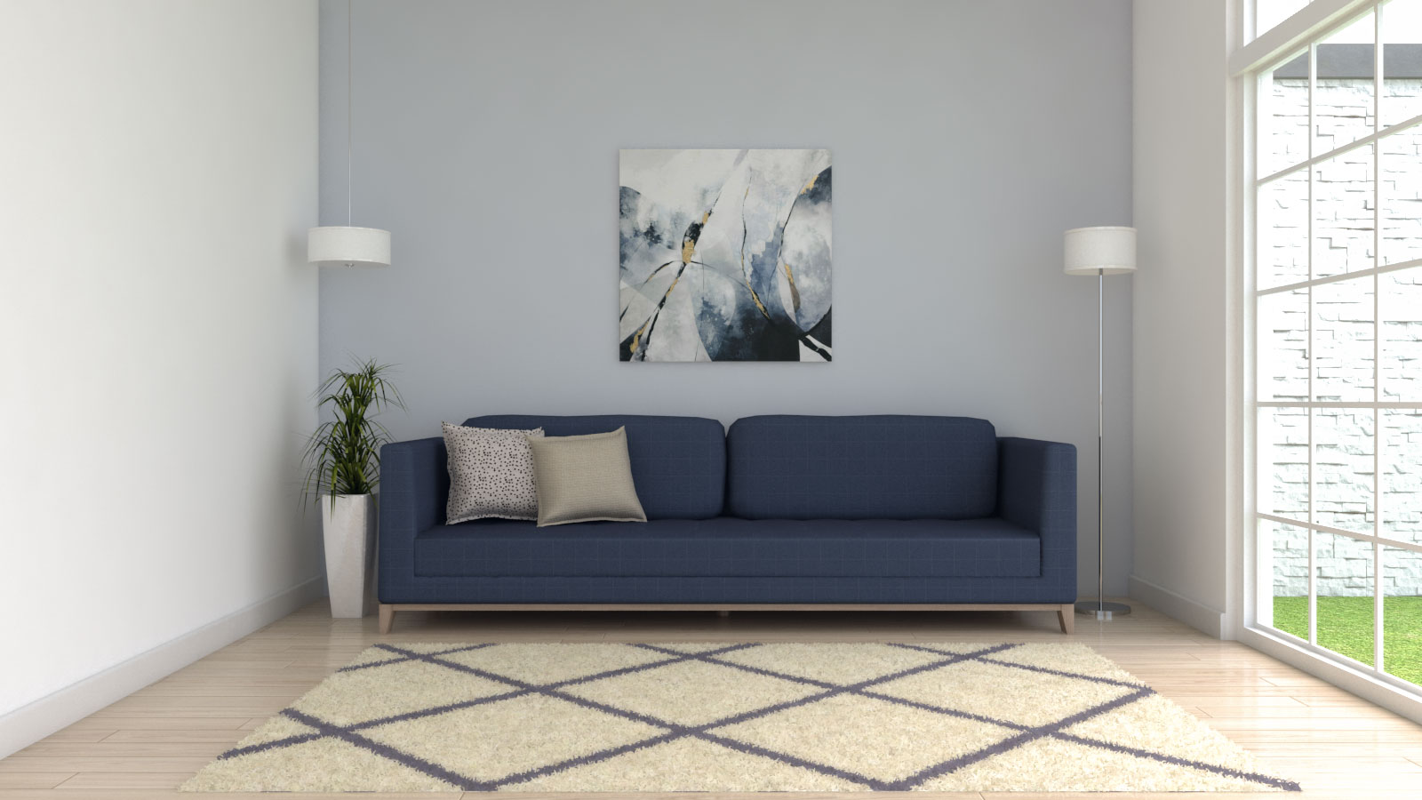 Geometric style cream and blue area rug with blue couch