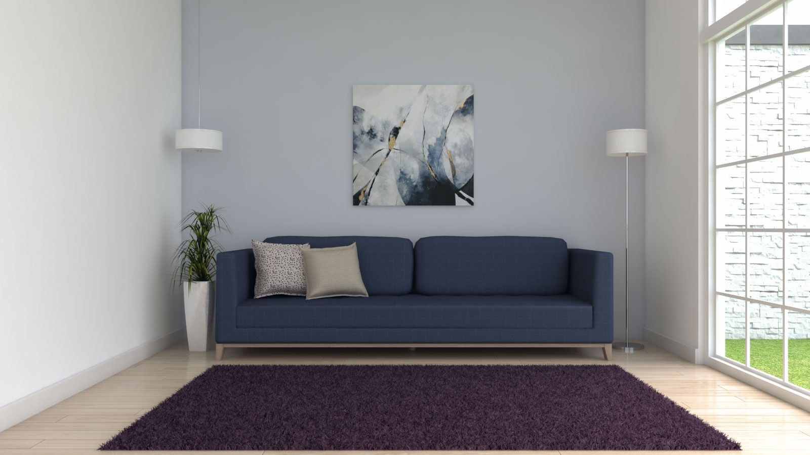 Purple area rug with blue couch