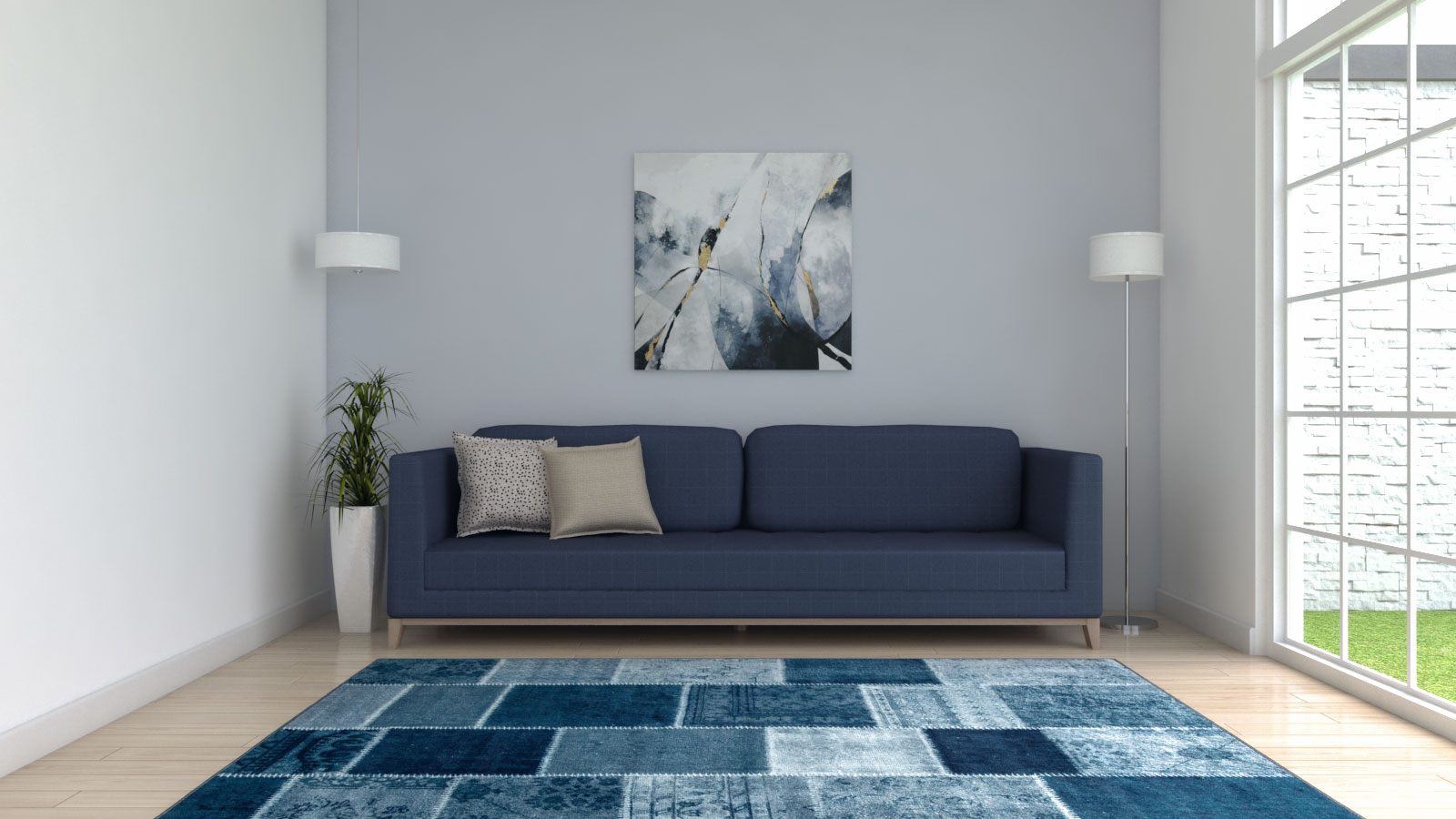 Contemporary modern blue rug with blue sofa