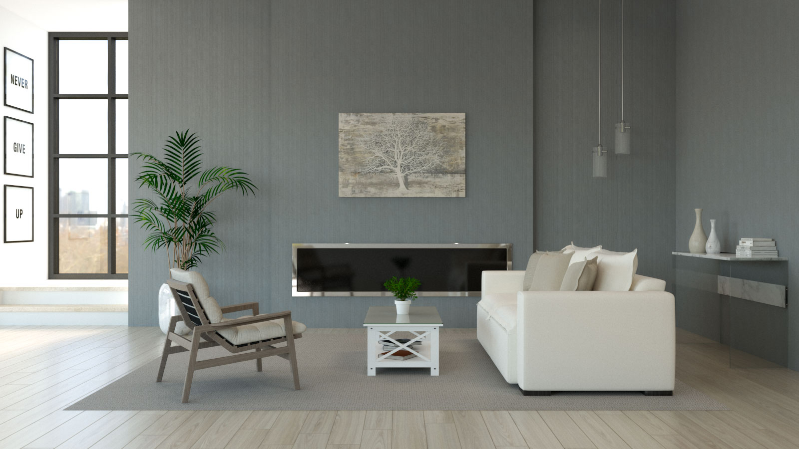 Living room with cream furniture and gray walls