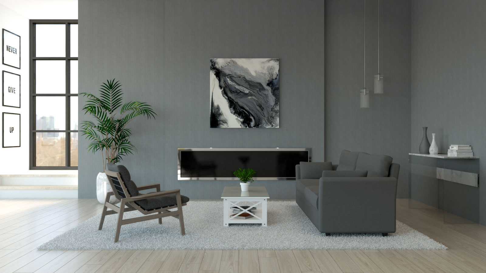 Living room with dark gray furniture and gray walls