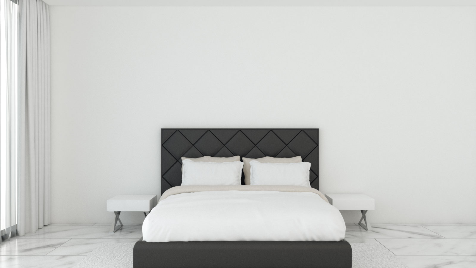 Empty large wall in bedroom