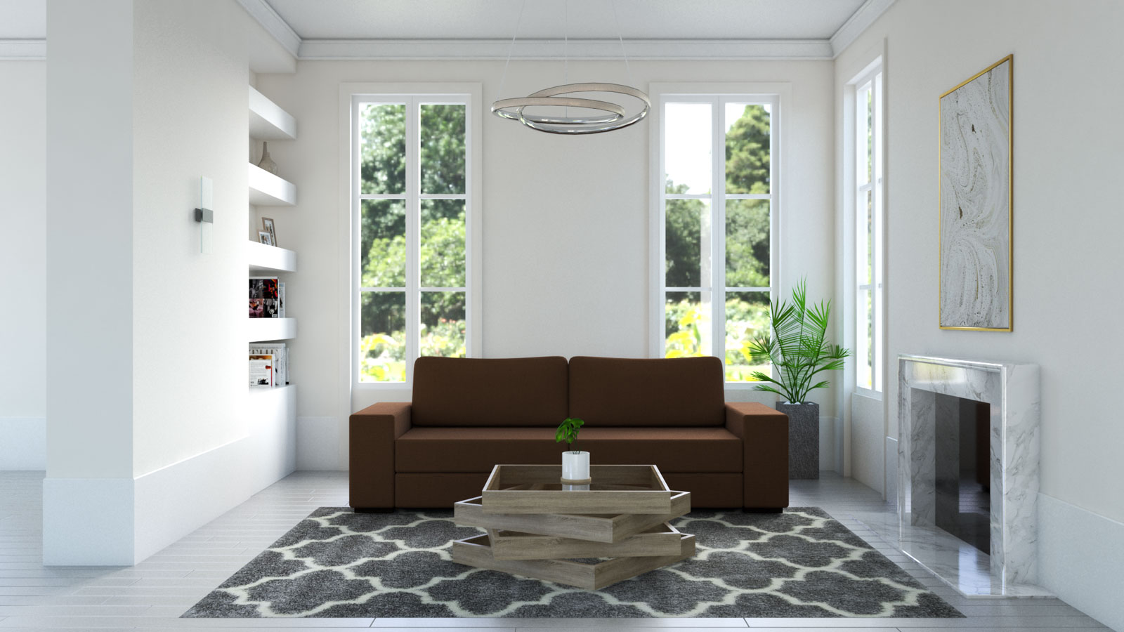 gray moroccan rug with brown couch