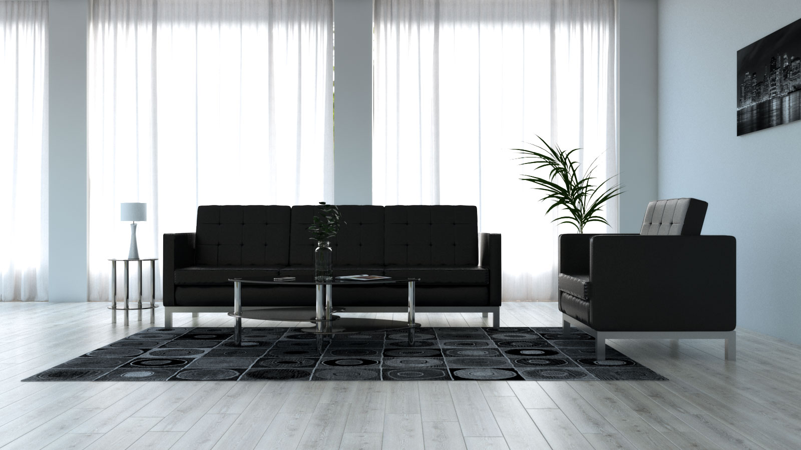 Living room decorated with black furniture