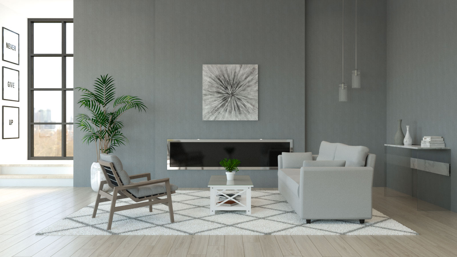 Living room with light gray furniture and medium gray walls