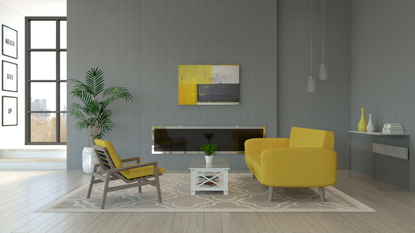 Living room with yellow furniture and gray walls