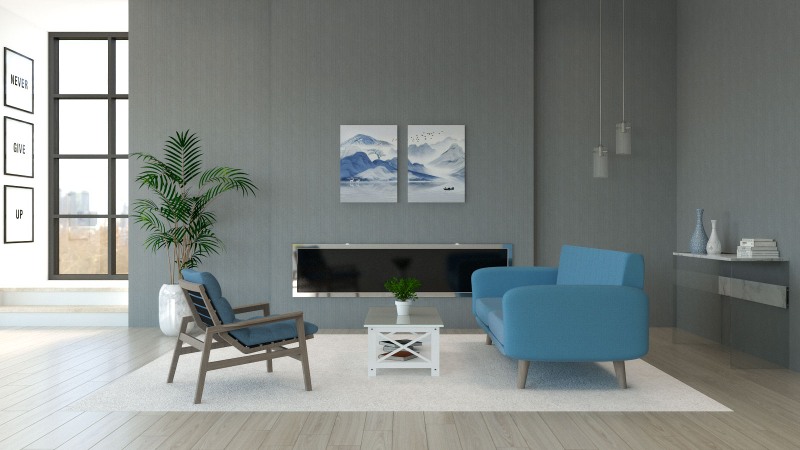 Living room with light blue furniture and gray walls