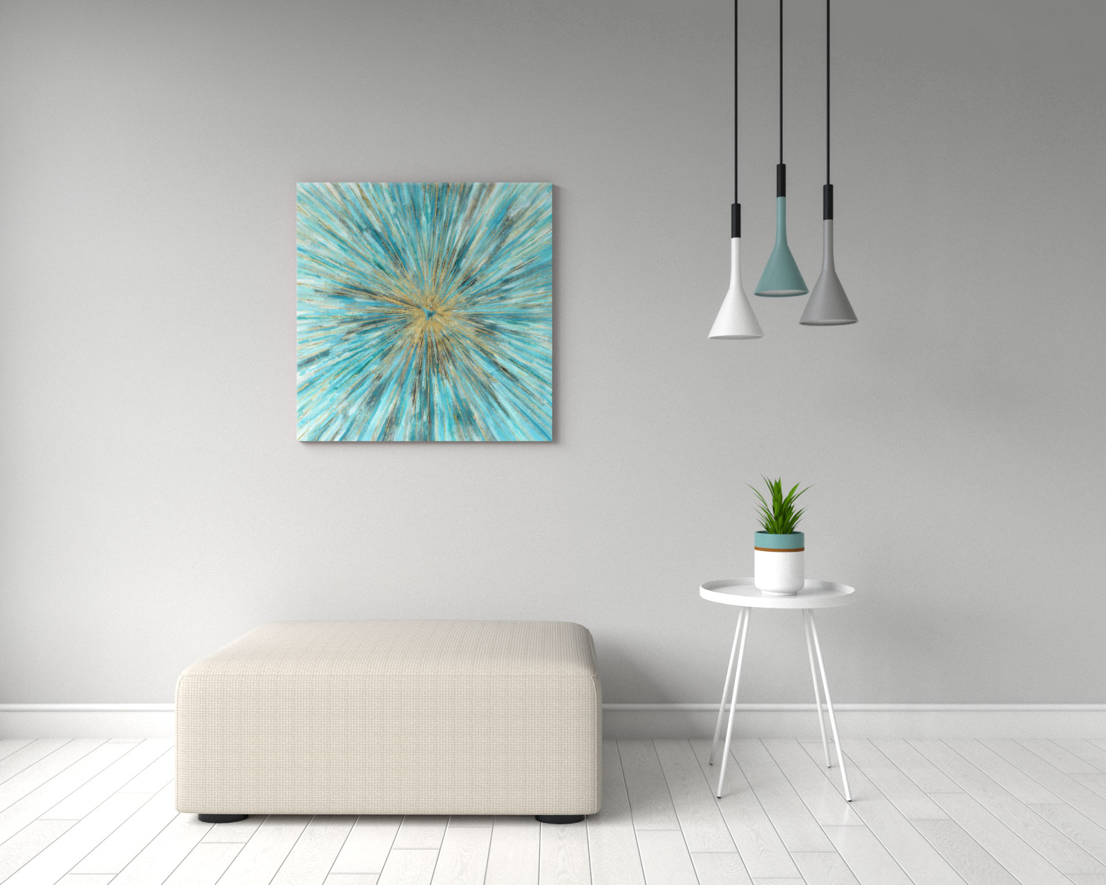 Contemporary teal abstract canvas wall art