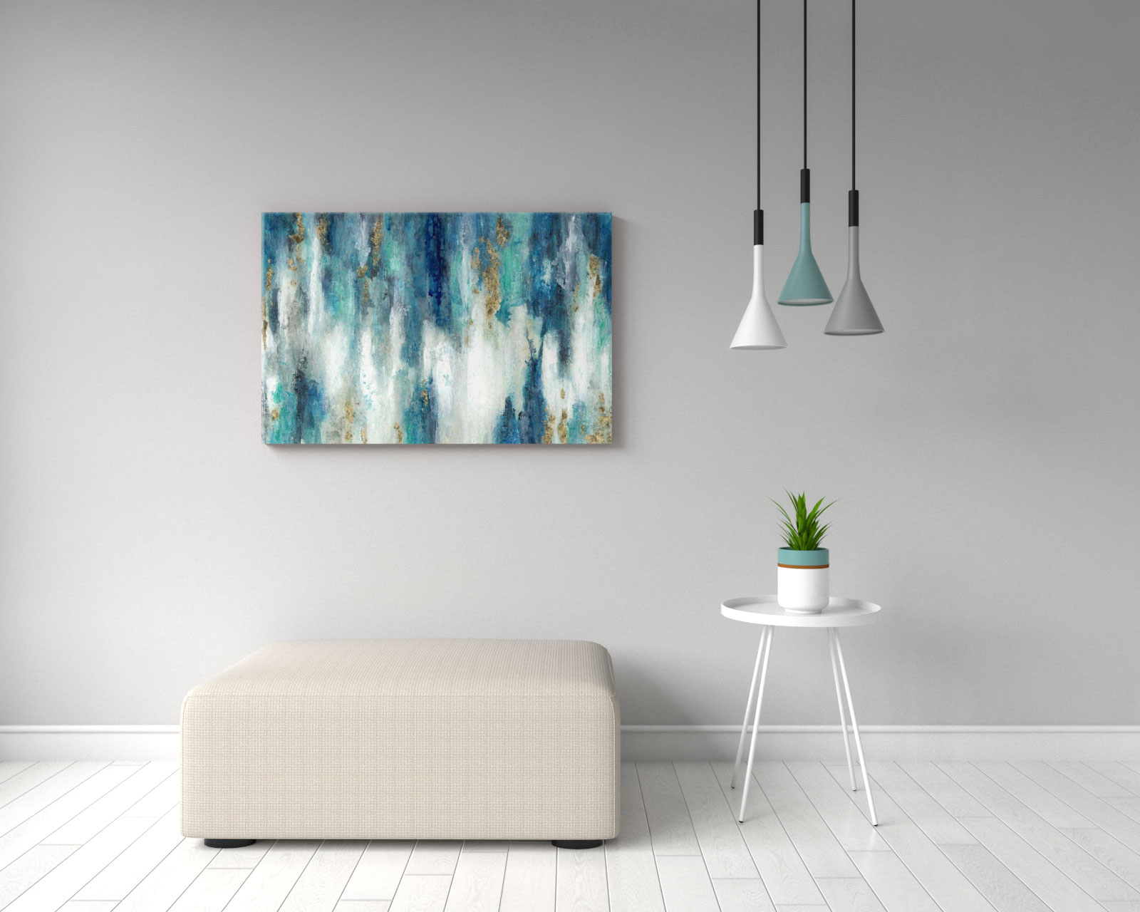 Contemporary teal abstract style wall art
