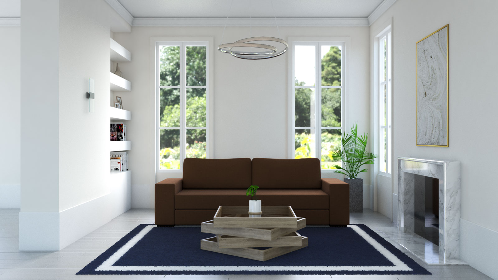 living room with navy blue rug and brown couch