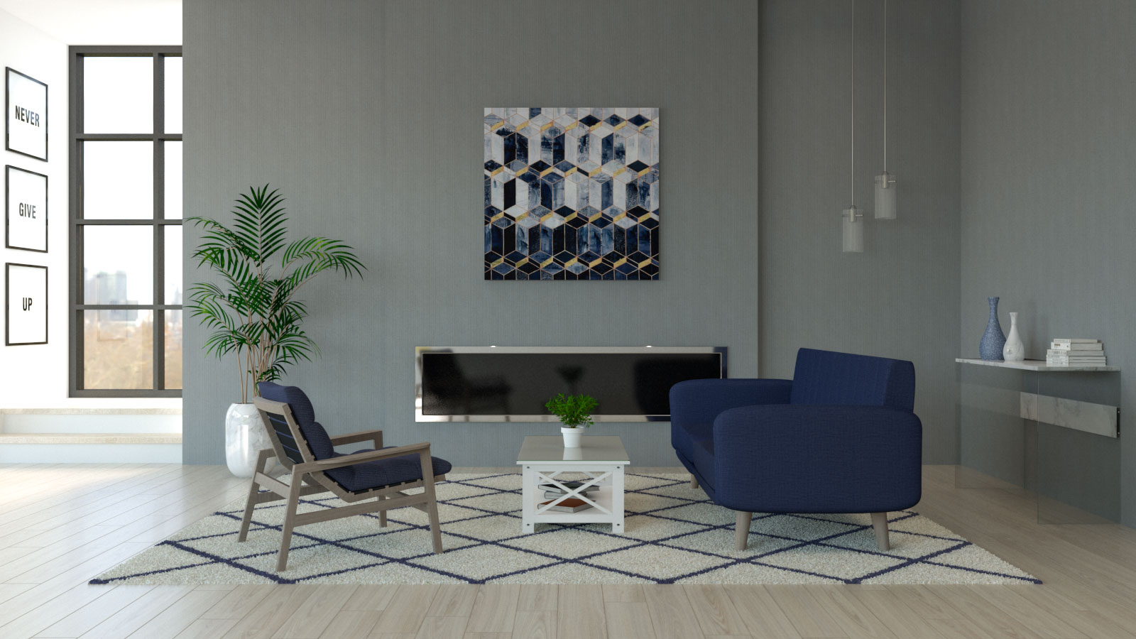 Living room with navy blue furniture and gray walls