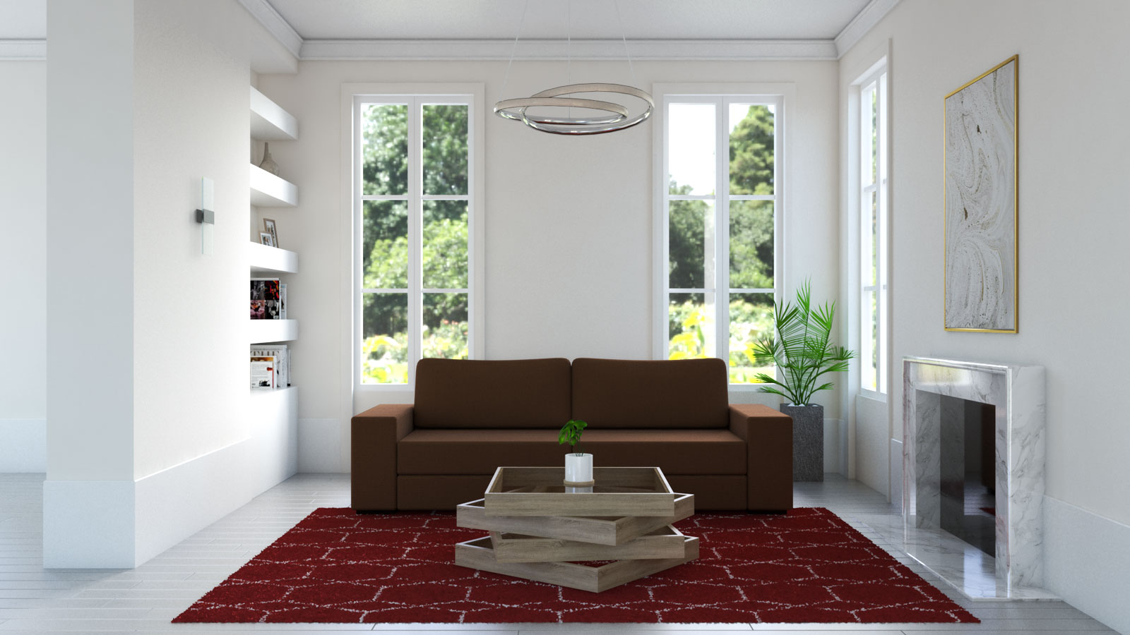 red and white rug with brown couch