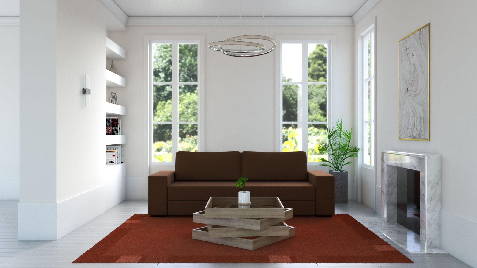 rust orange rug with brown sofa