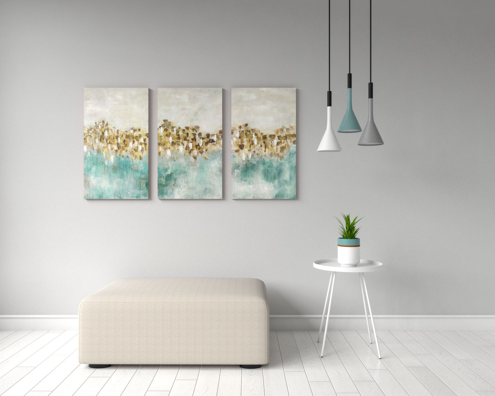 Gorgeous cream teal and gold canvas wall art