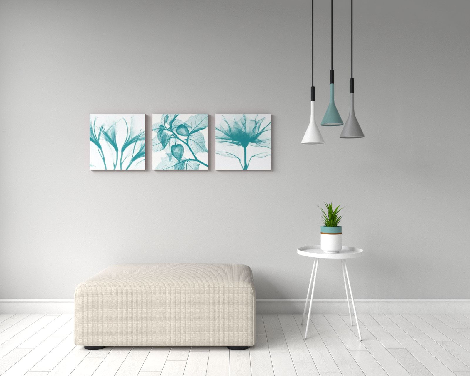 Simple floral white and teal canvas print wall art
