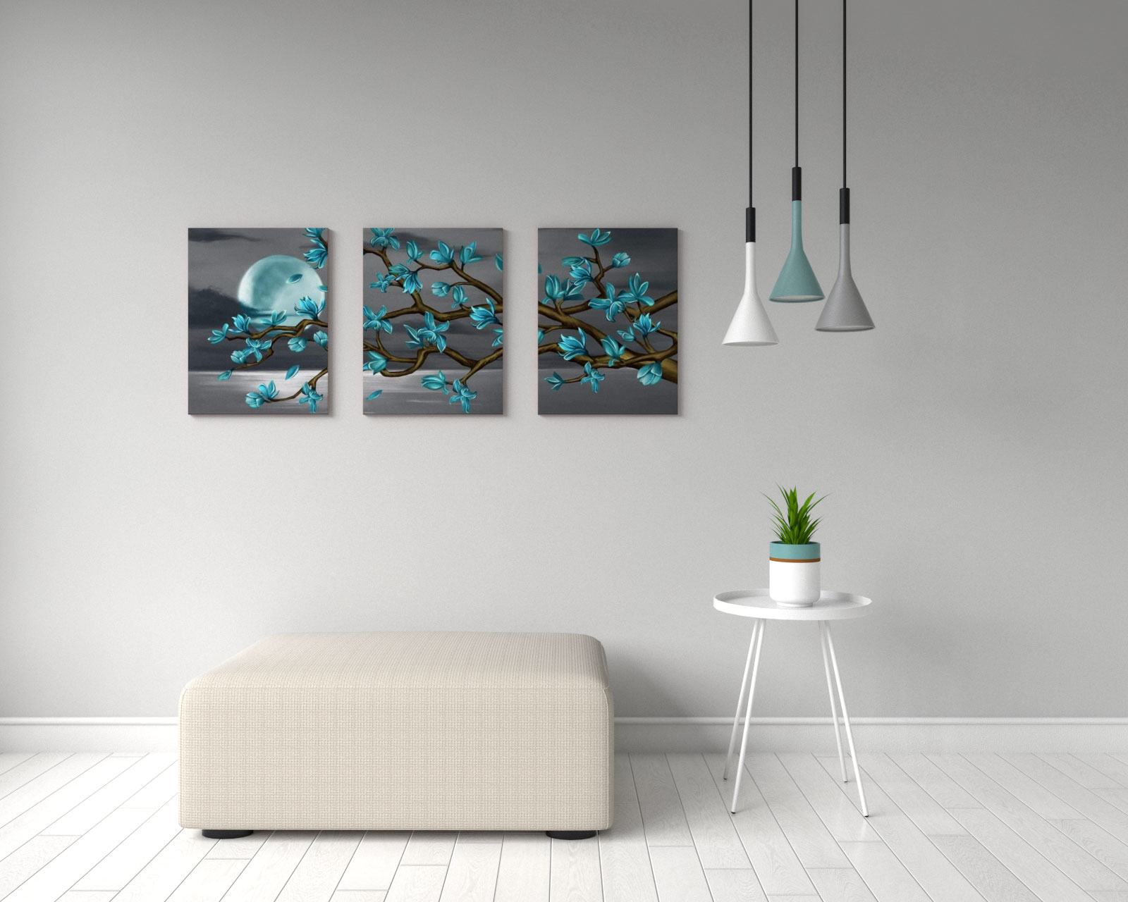 Black and teal magnolia moon seascape scenery wall art