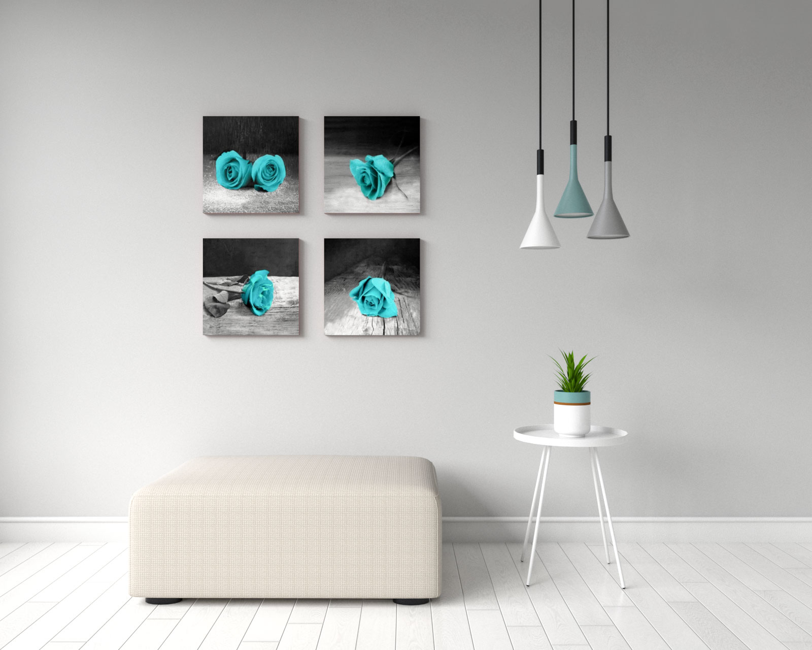 Teal and black rose flower wall art
