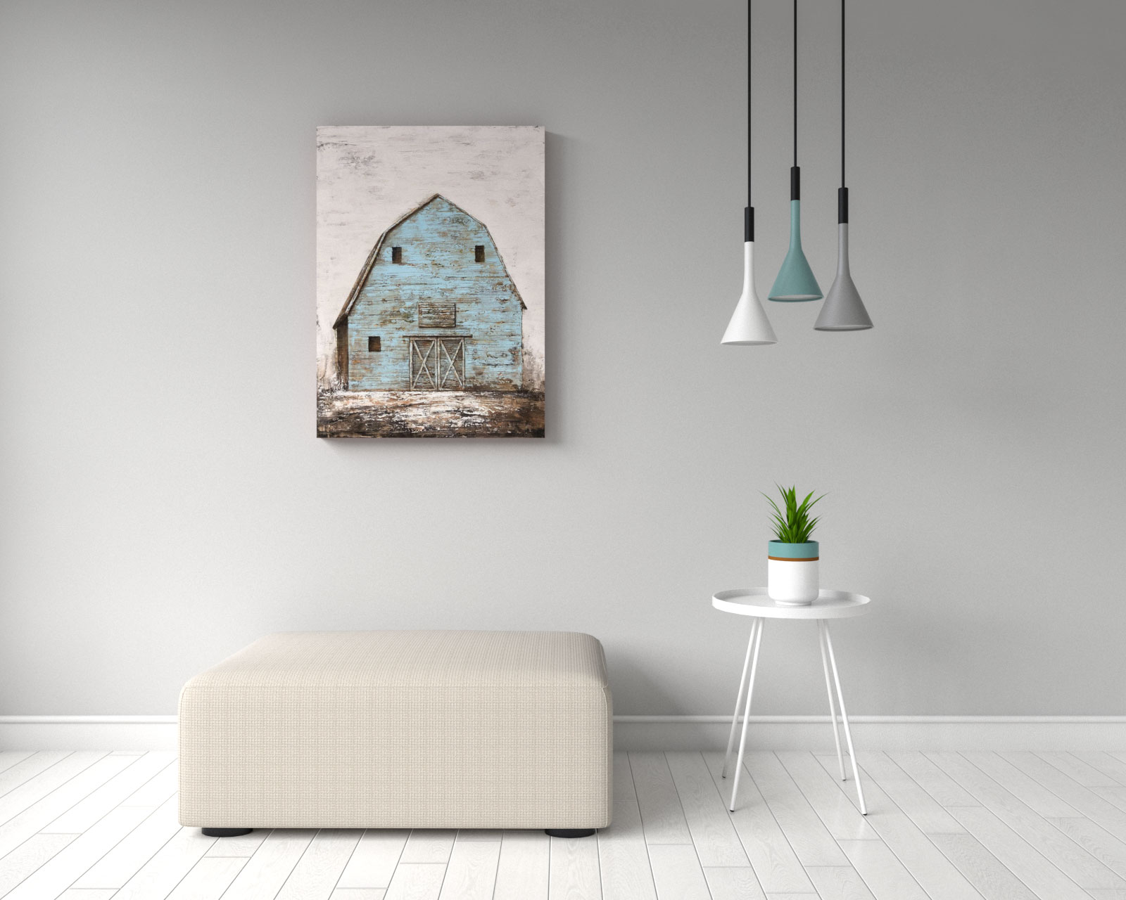 Vintage farmhouse style teal barn house wall art
