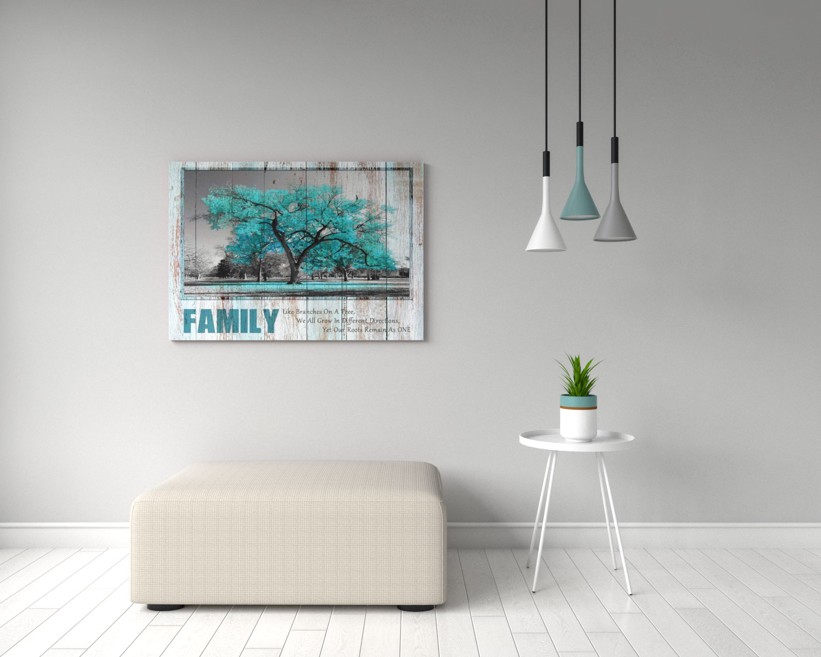 Teal rustic style family tree and quote wall art