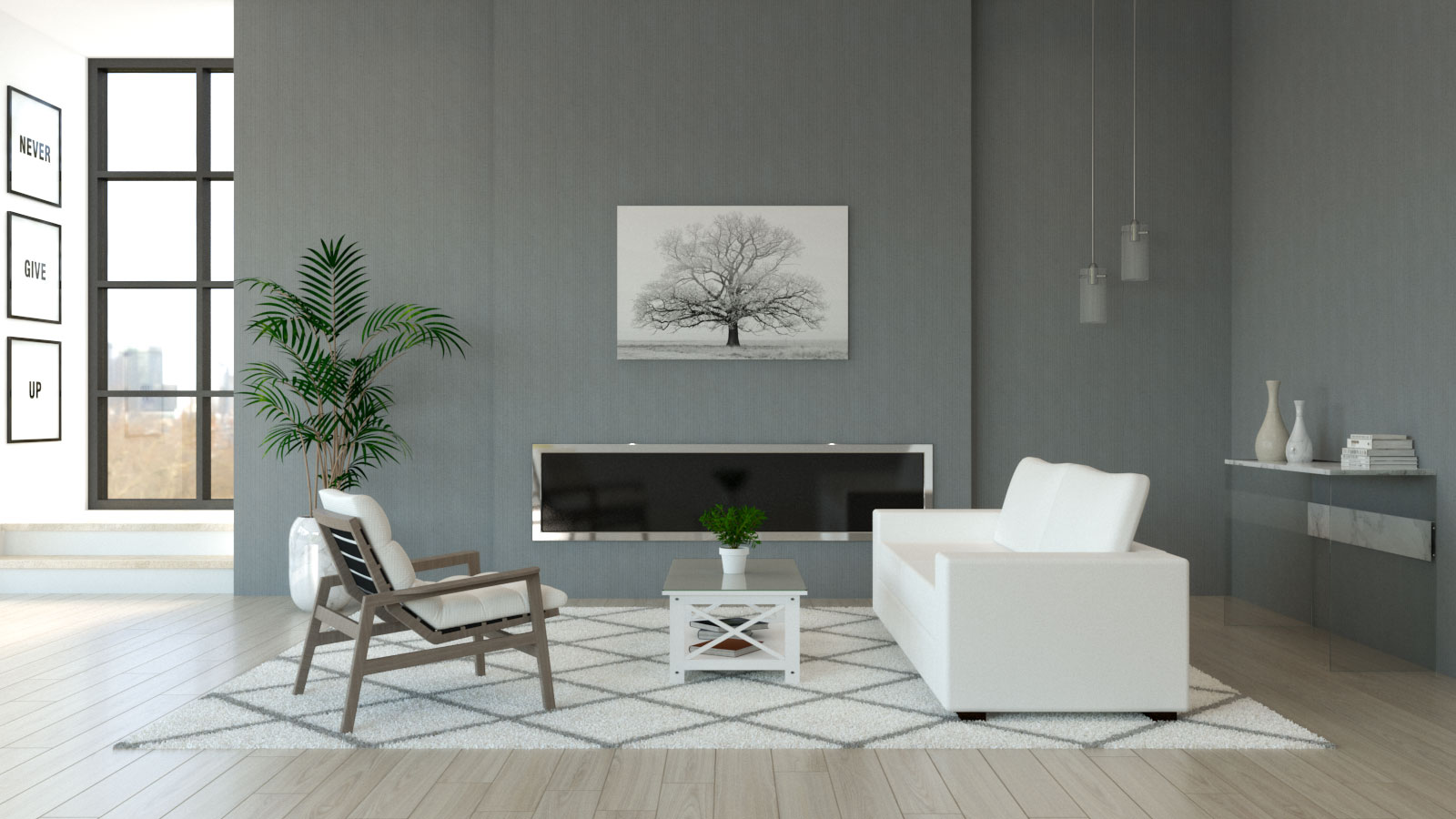 Living room with white furniture and gray walls