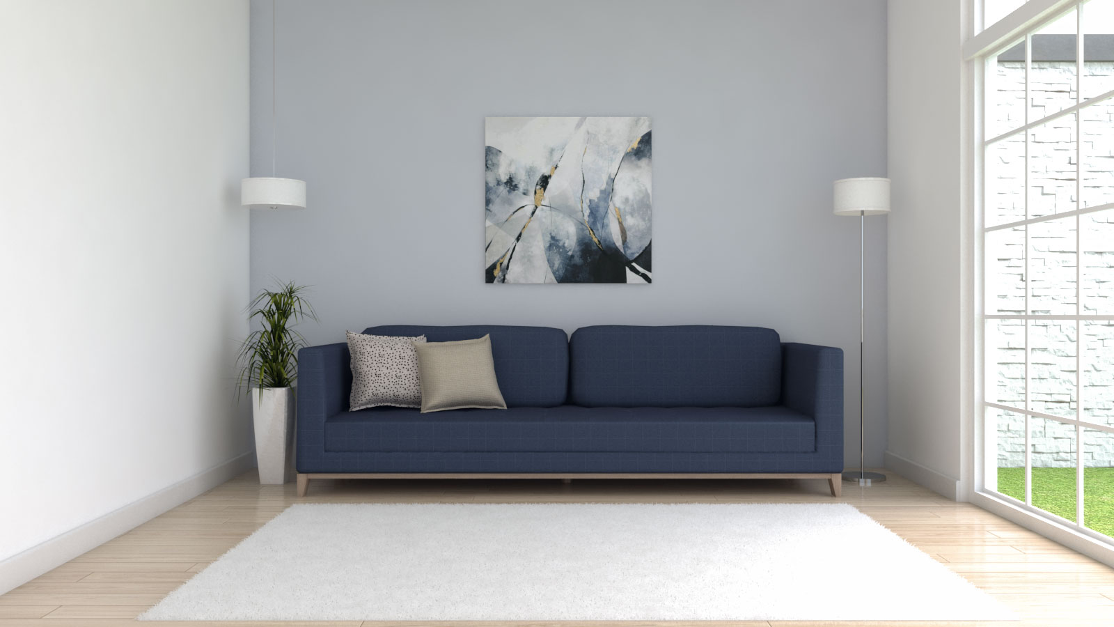 White rug with blue couch