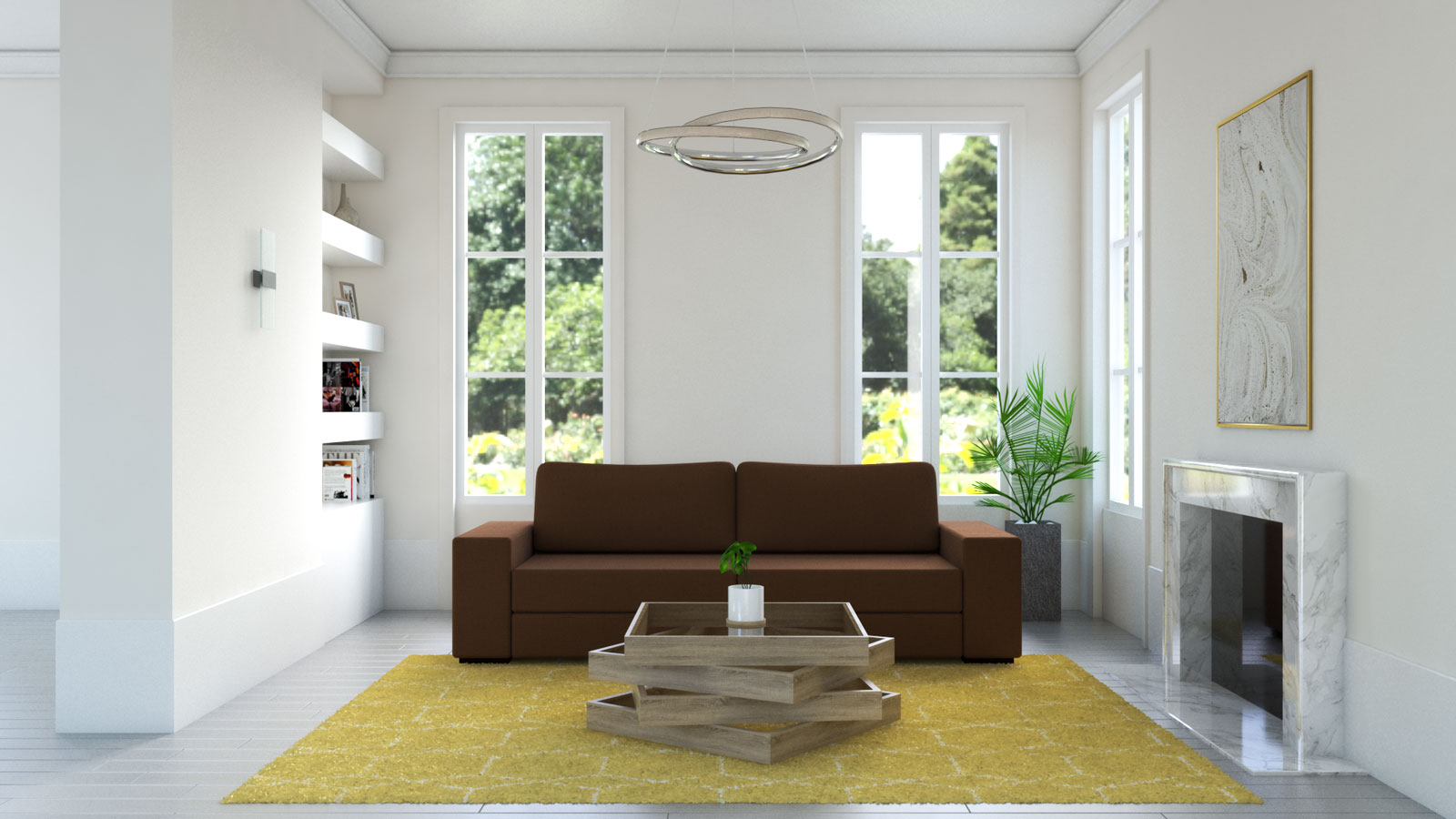 yellow and white hexagonal rug with brown couch