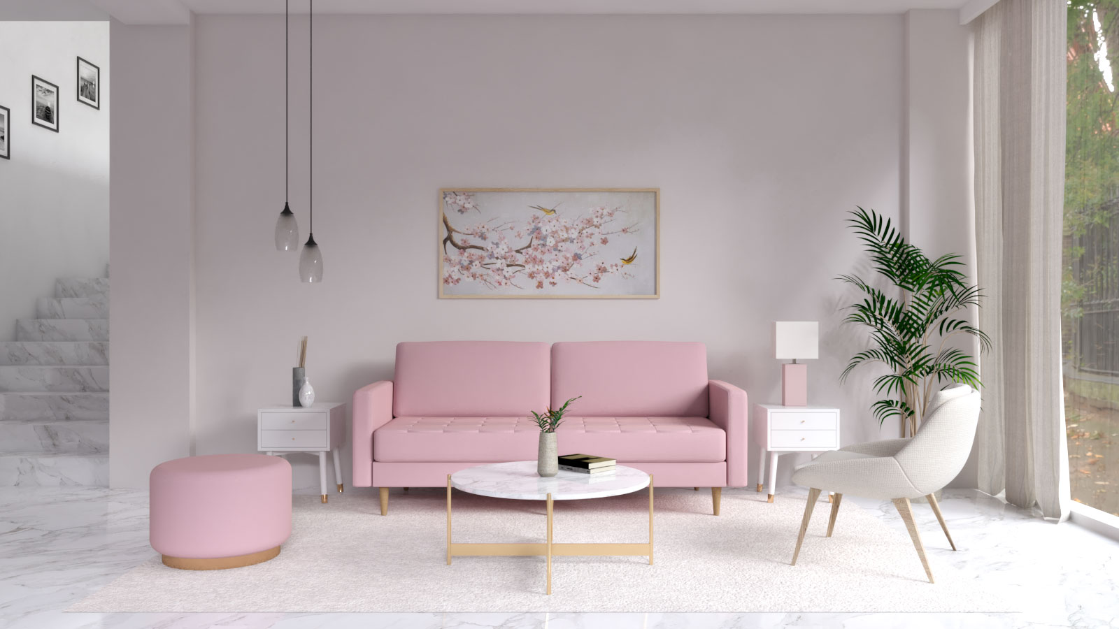 Light pink wall with pink sofa