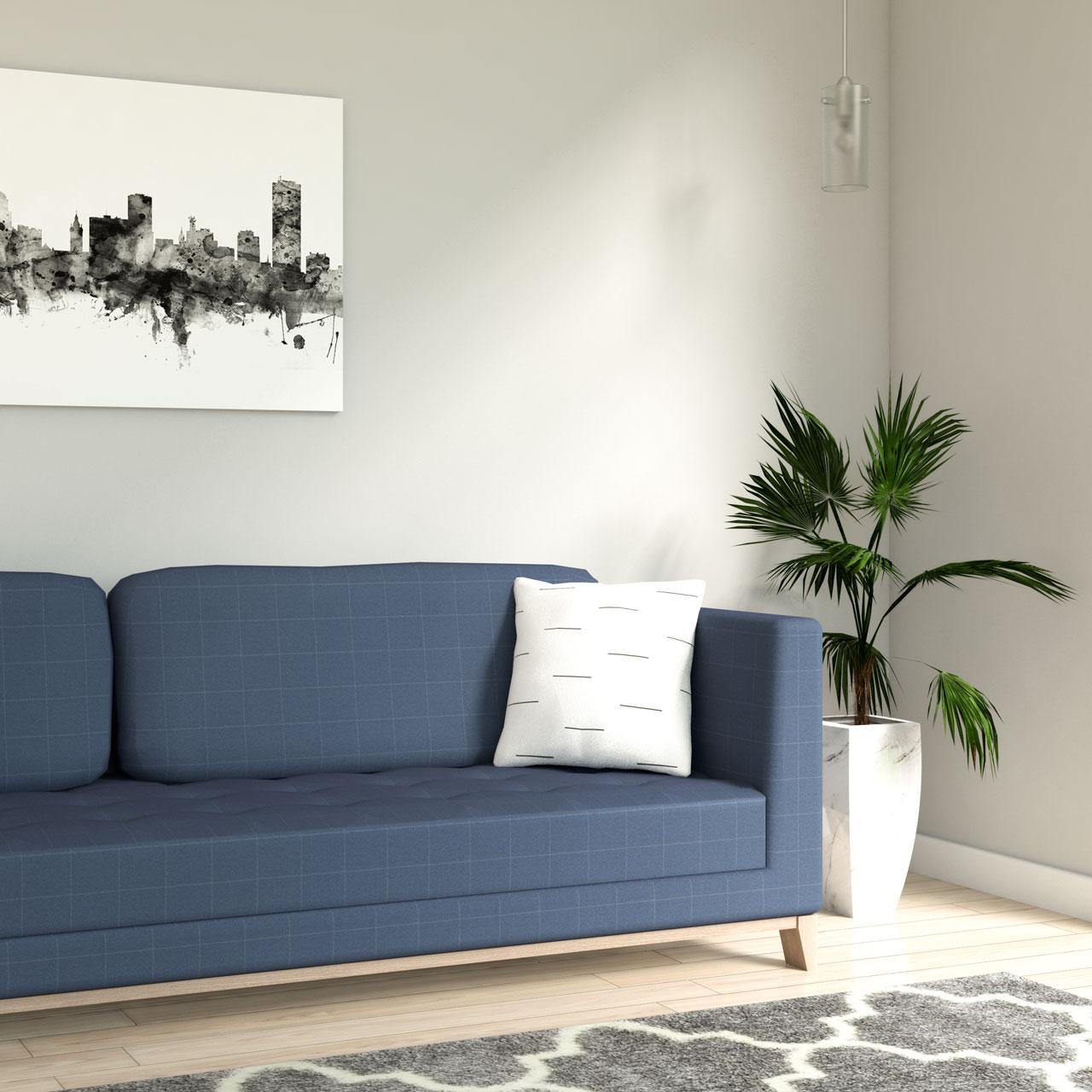 Modern white stripe throw pillow with blue sofa