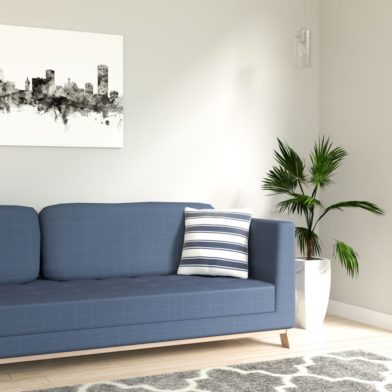 White and blue stripe throw pillow with blue sofa