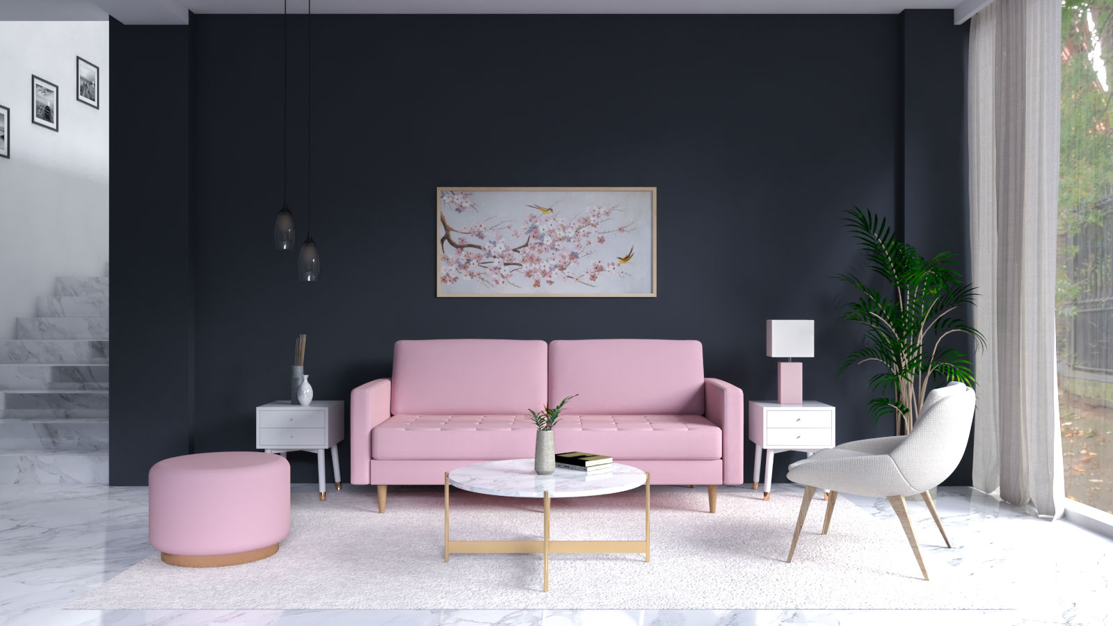 charcoal blue accent wall with pink couch