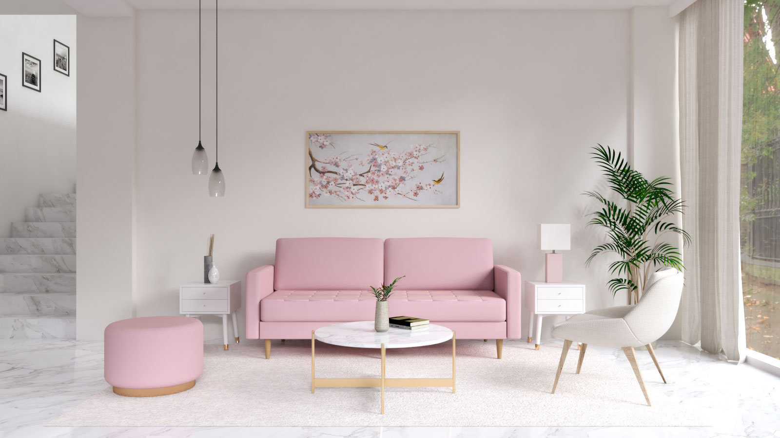 Ivory white wall with pink furniture