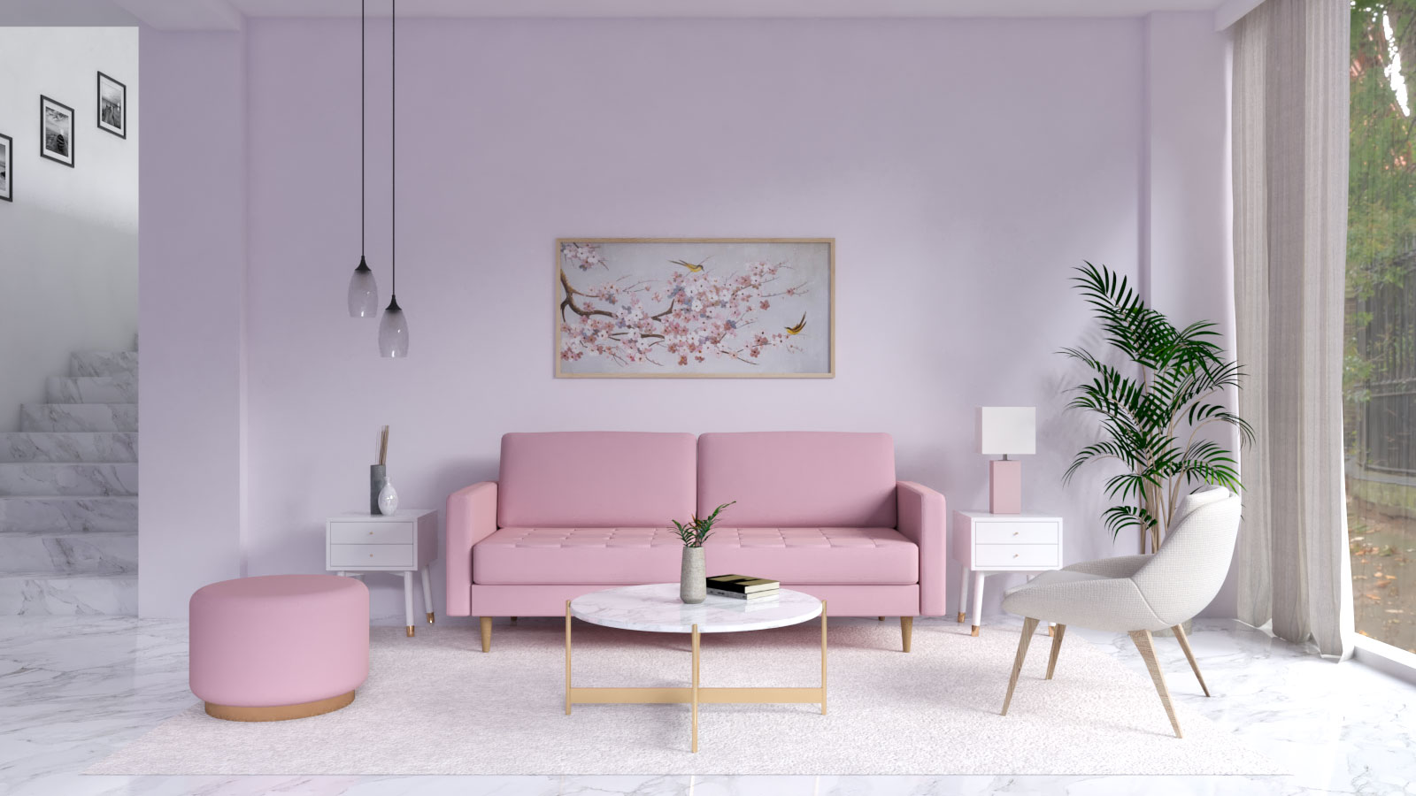 lilac wall with pink couch