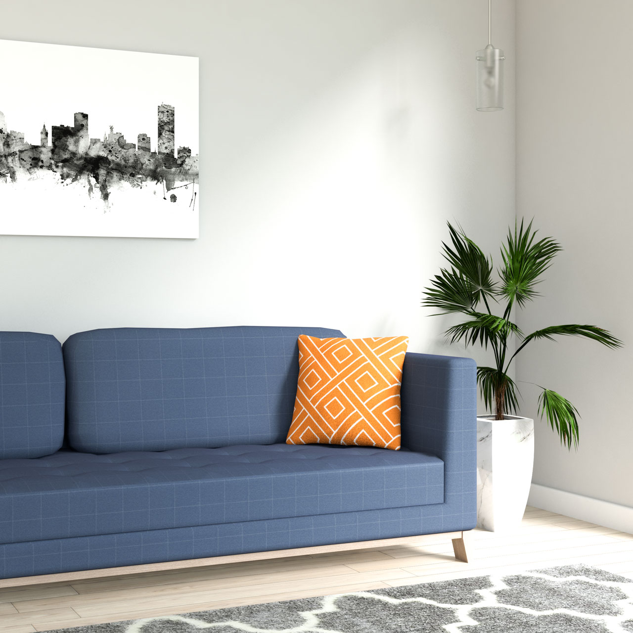 Orange geometric style throw pillow with blue couch
