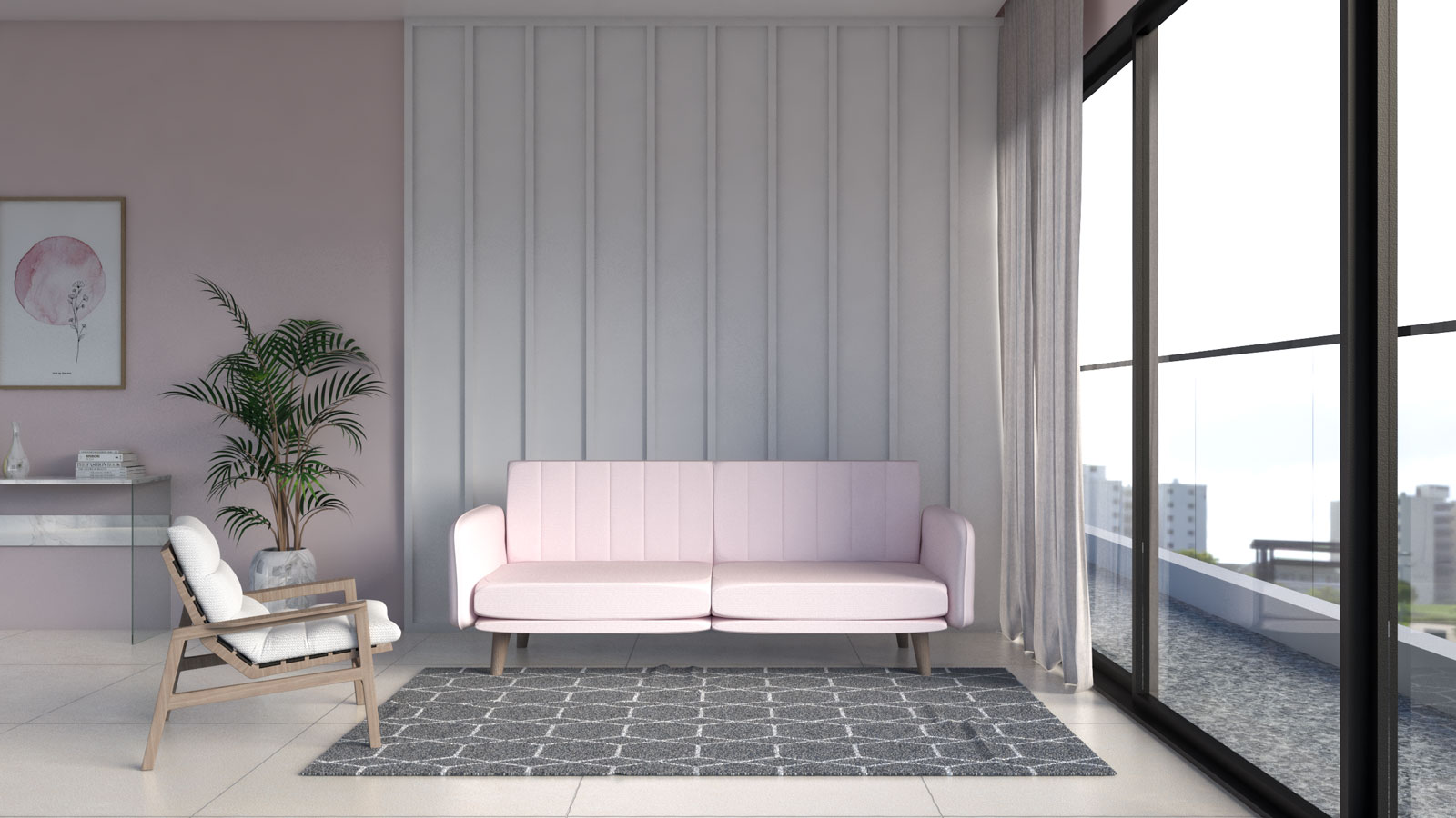 Gray and white geometric pattern rug with pink couch