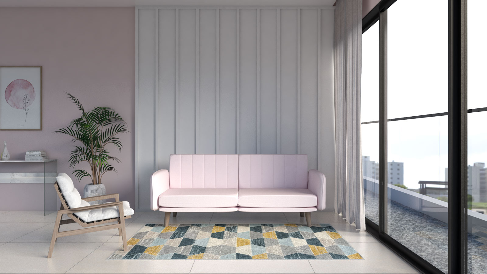 Colorful blue, gray, yellow and cream rug with pink couch