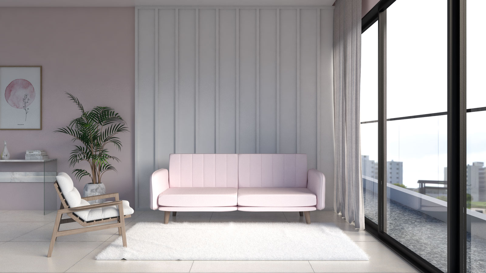 Soft fluffy white area rug with pink couch in contemporary living room