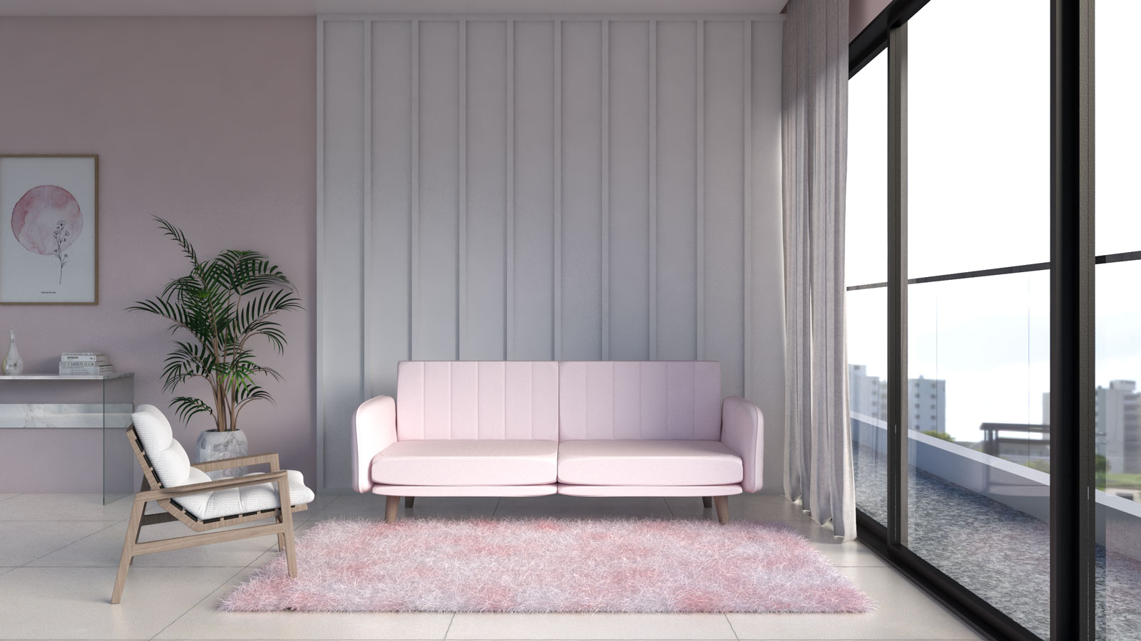 Pink and white area rug with blush pink couch in living room
