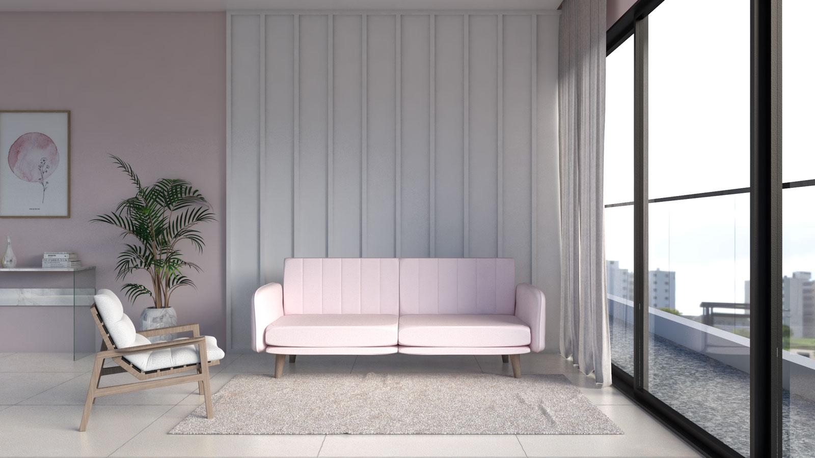 Living room with beige rug and pink couch