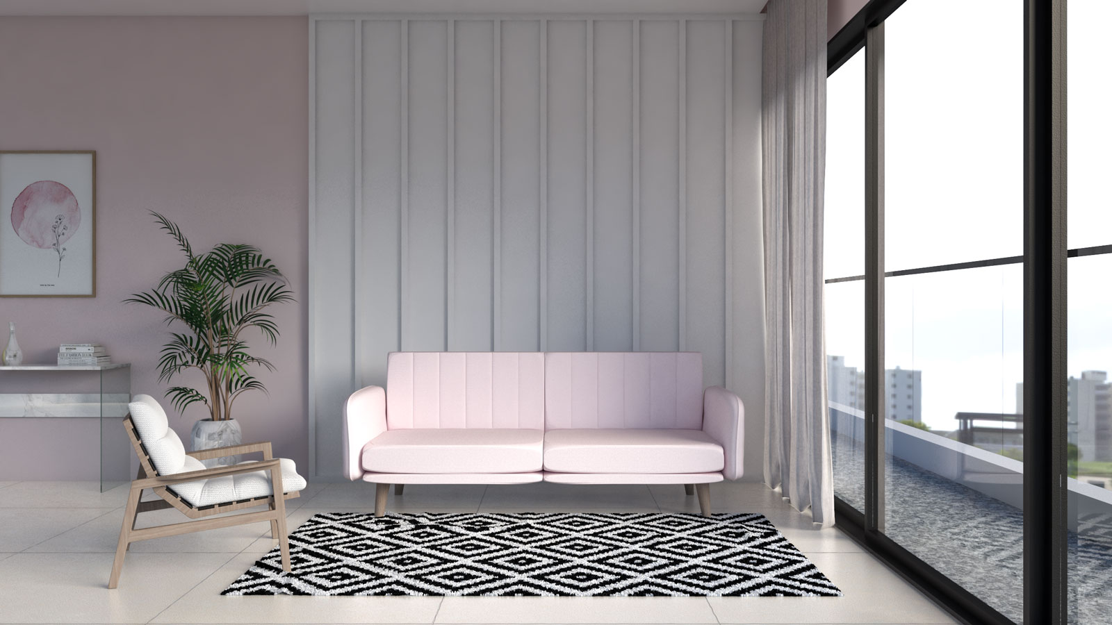 Modern black and white rug with pink couch
